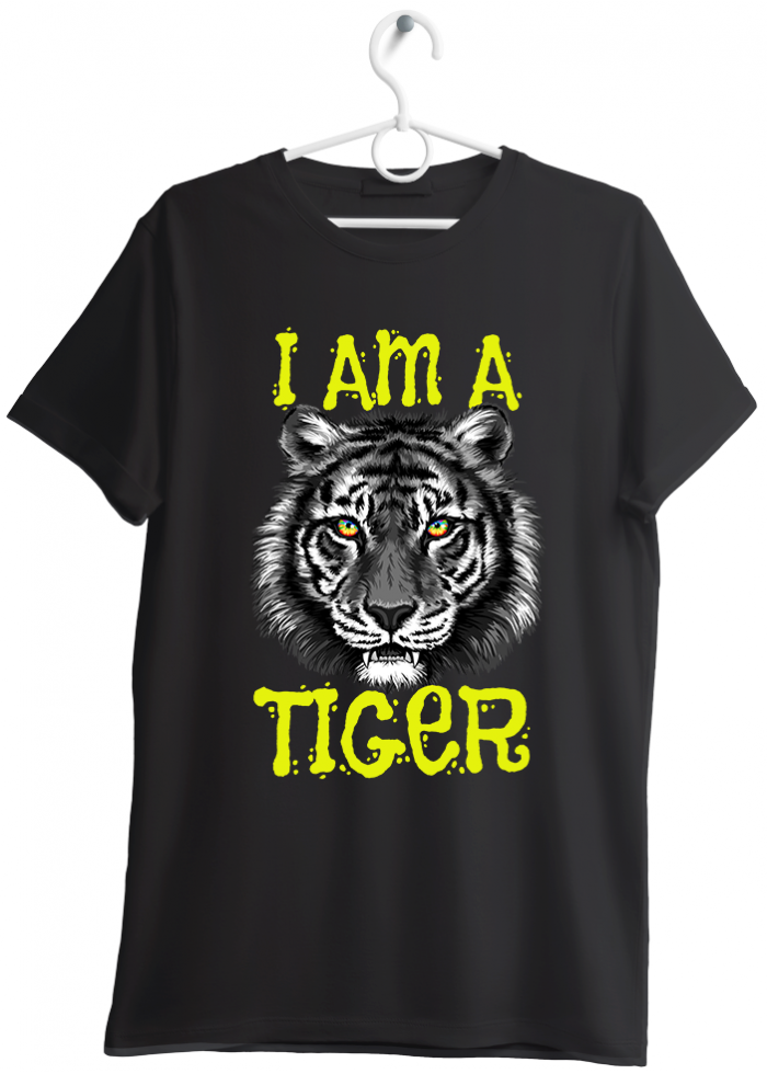 "T-shirt uomo ""I am a tiger"" nero"