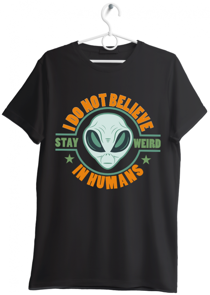 "T-shirt uomo ""I do not believe in humans"" nero"