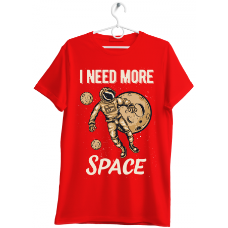 """T-shirt uomo """"I need more space"""" rosso"""