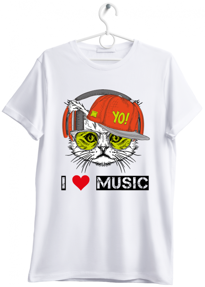 "T-shirt uomo ""I love music cat"" bianco"