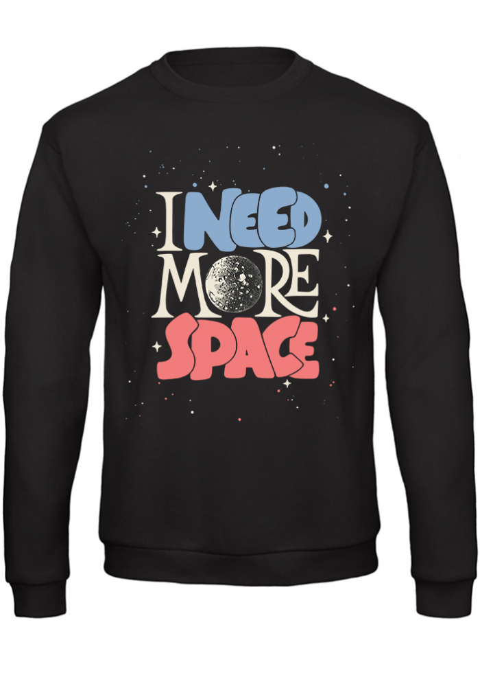 "Felpa uomo ""i need more space"" nera"