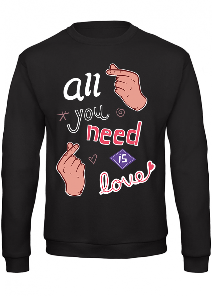 "Felpa donna ""all you need is love"" nera"