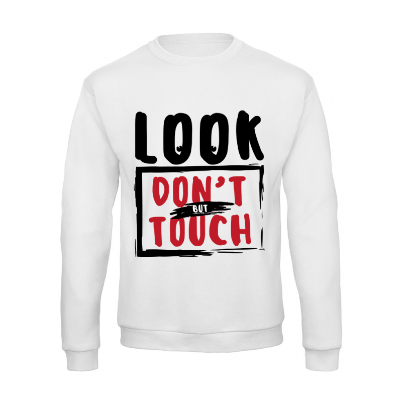 """Felpa donna """"look but don't touch"""" bianca"""