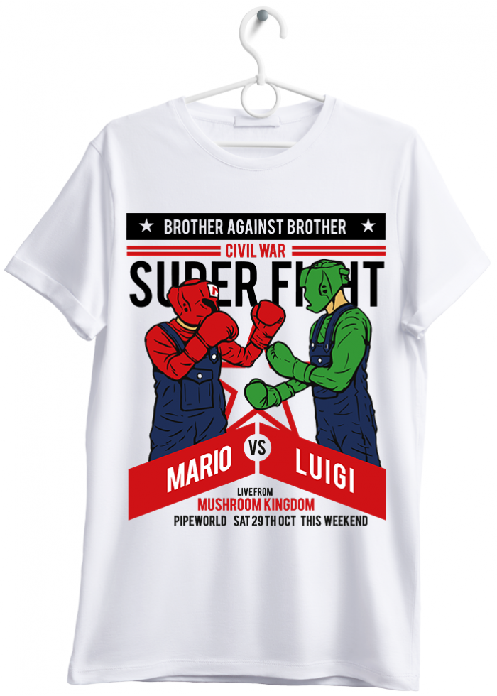 "T-shirt uomo ""brother against brother"" bianco"