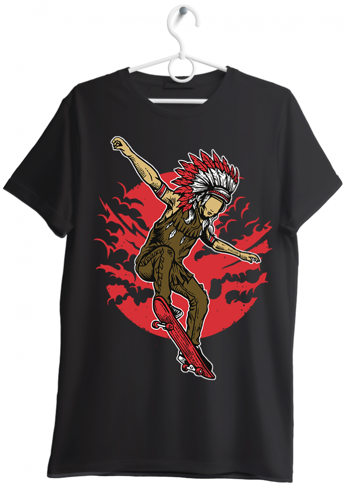 "T-shirt uomo ""indian skate"" nero"