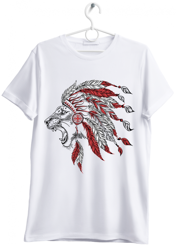 "T-shirt uomo ""Indian lion"" bianco"