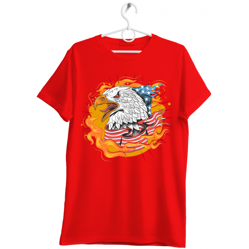 """T-shirt uomo """"eagle made in U.S.A."""" rosso"""