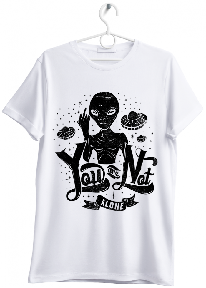 "T-shirt uomo ""you are not alone"" bianco"