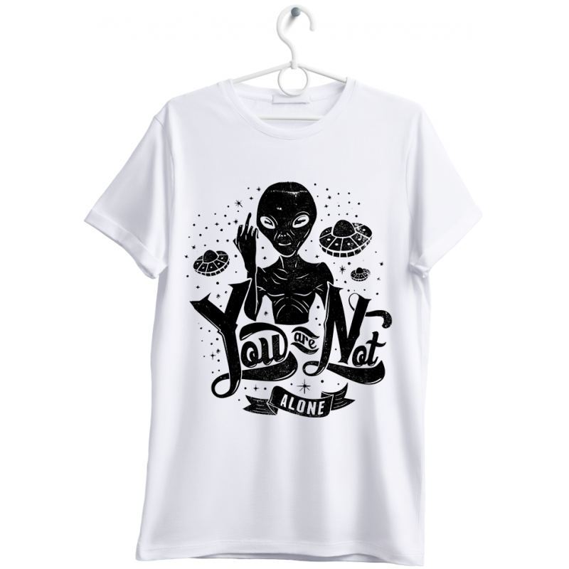 """T-shirt uomo """"you are not alone"""" bianco"""