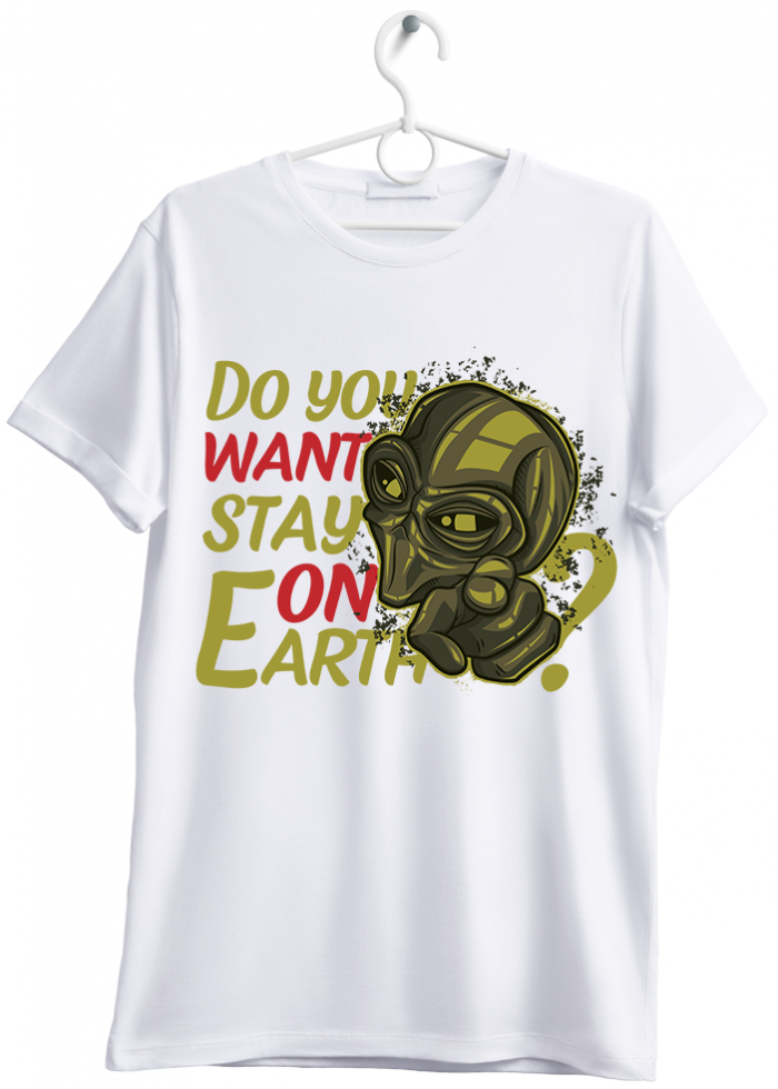 "T-shirt uomo ""stay on earth"" bianco"