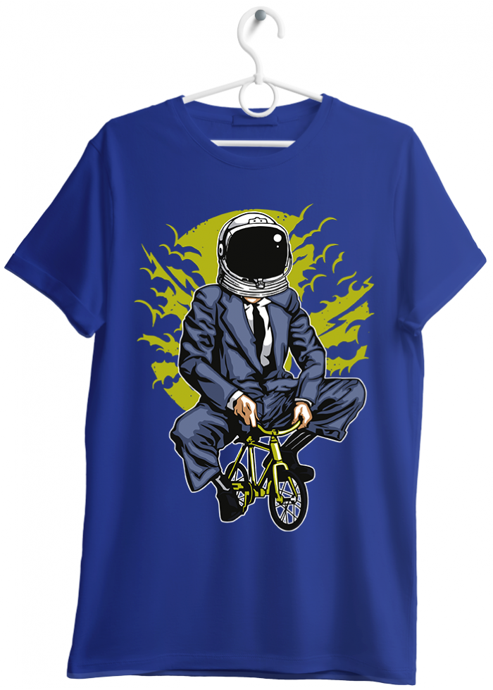 "T-shirt uomo ""bike to the moon"" bleu"