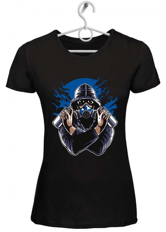 "T-shirt donna ""gas mask"" nero"