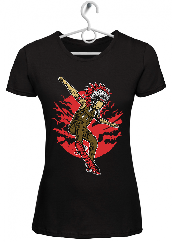 "T-shirt donna ""indian skate"" nera"