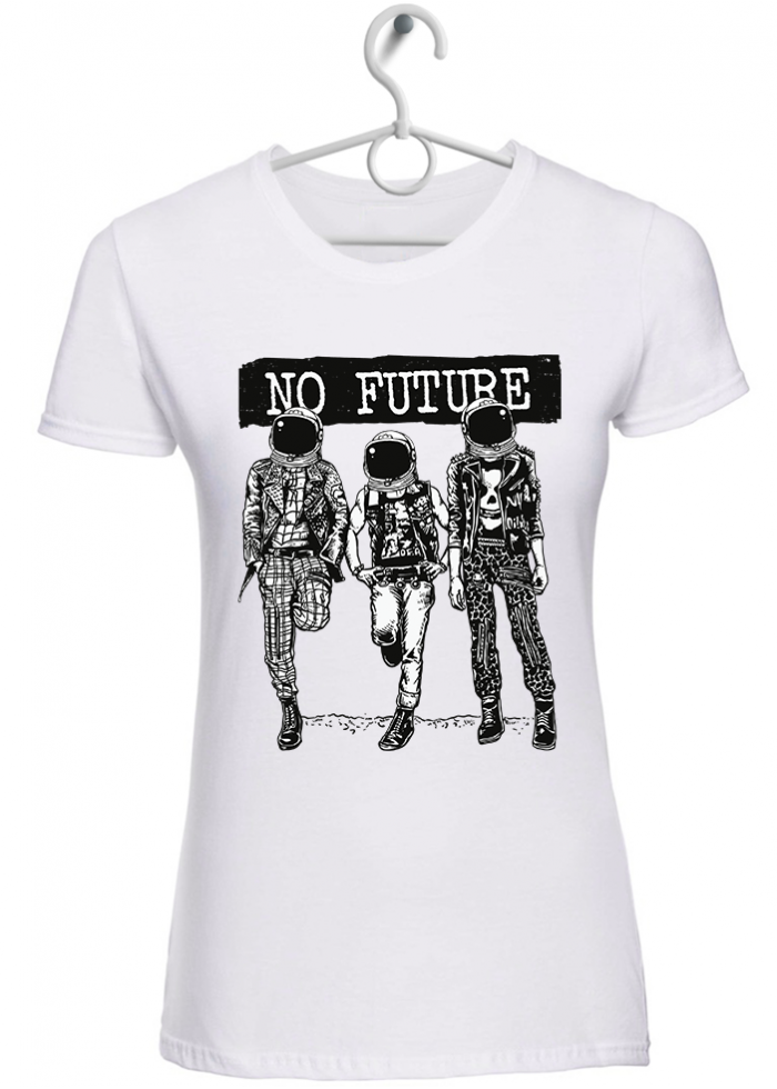 "T-shirt donna ""no future"" bianca"