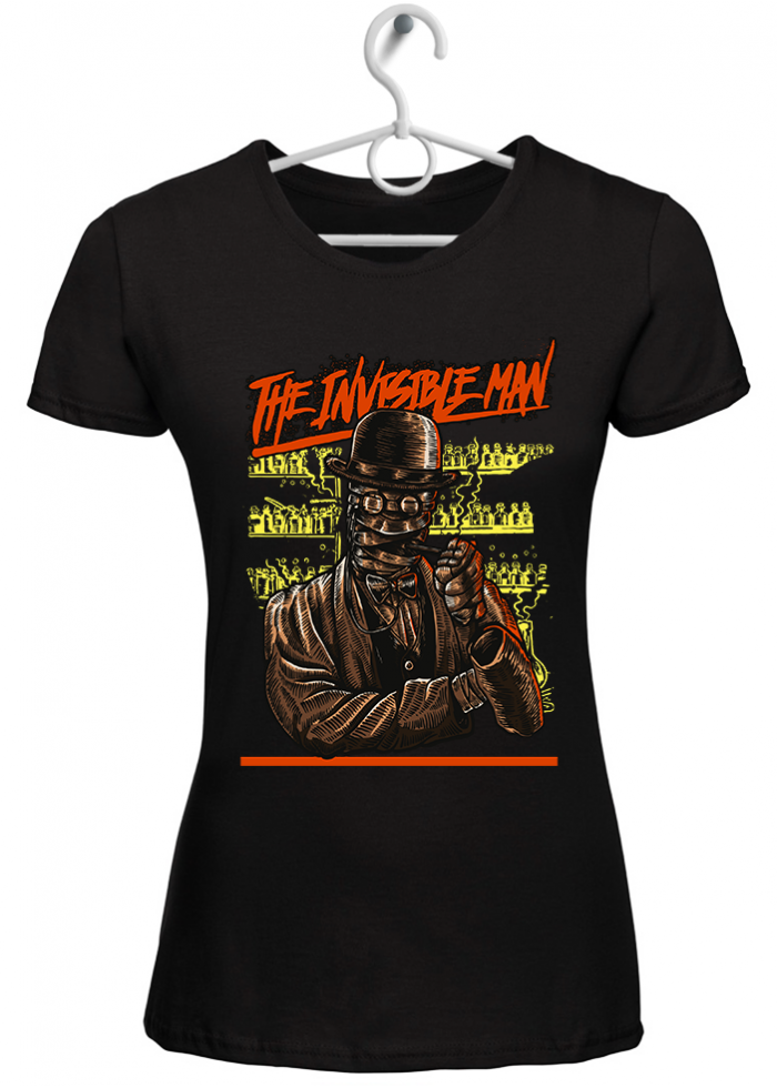 """T-shirt donna """"the invisible man"""" nera"""