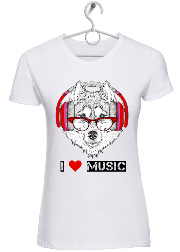 "T-shirt donna ""I love music husky"" bianca"