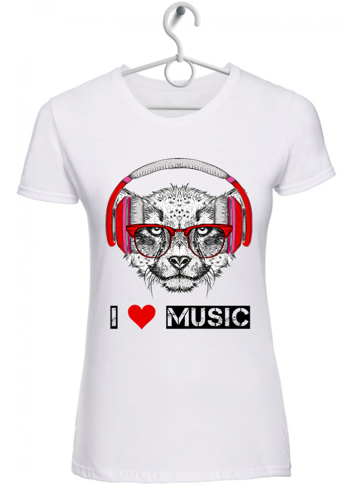 "T-shirt donna ""I love music ghepardo"" bianca"