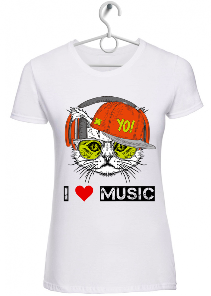 "T-shirt donna ""I love music cat"" bianca"