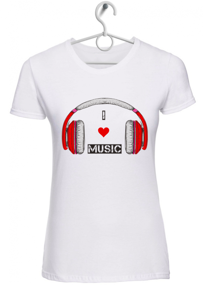 "T-shirt donna ""I love music logo"" bianca"