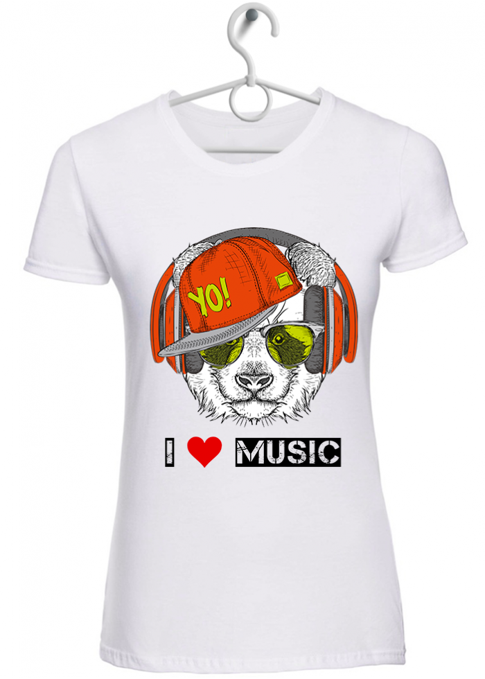 "T-shirt donna ""I love music panda"" bianca"