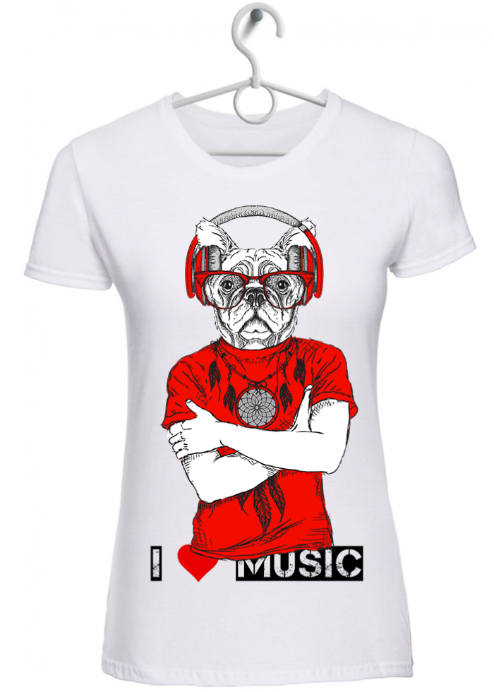"T-shirt donna ""I love music dog"" bianca"