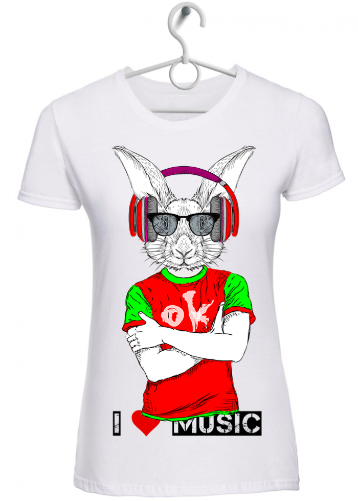 "T-shirt donna ""I love music hipster rabbit"" bianca"