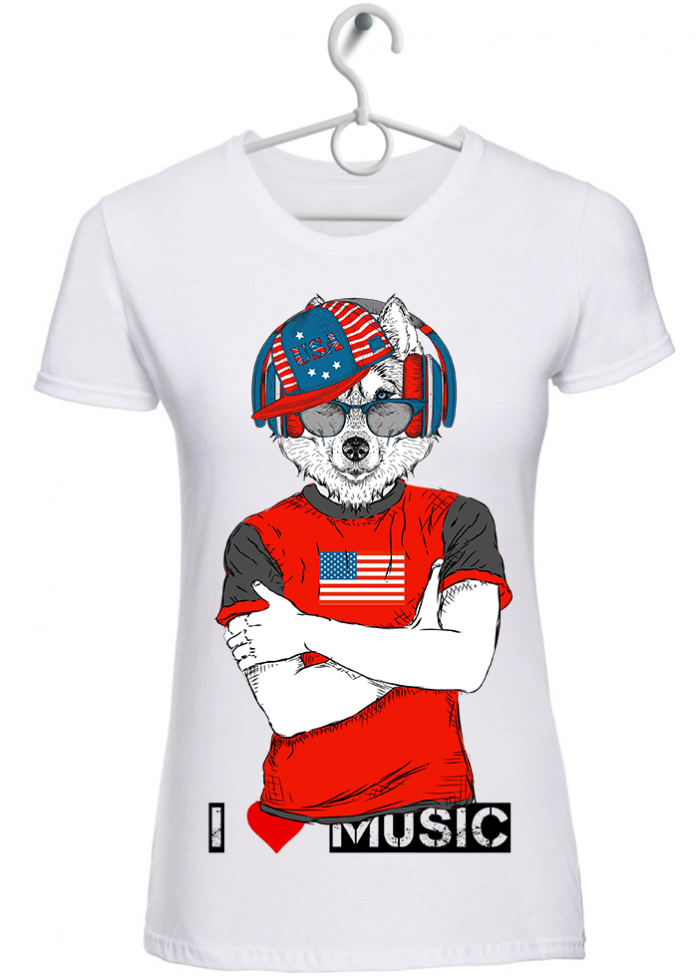 "T-shirt donna ""I love music wolf"" bianca"