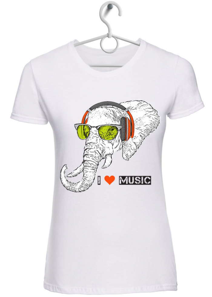 "T-shirt donna ""I love music elephant "" bianca"