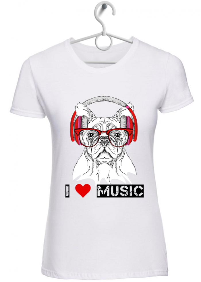 "T-shirt donna ""I love music bulldog""  bianca"