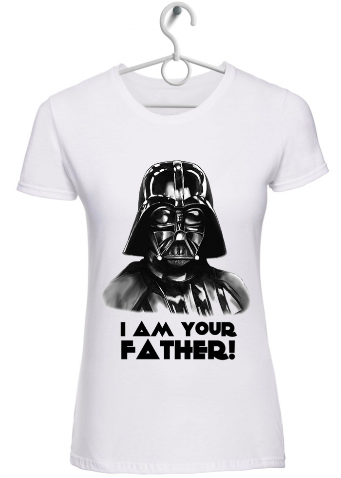 "T-shirt donna ""I am your father"" bianca"