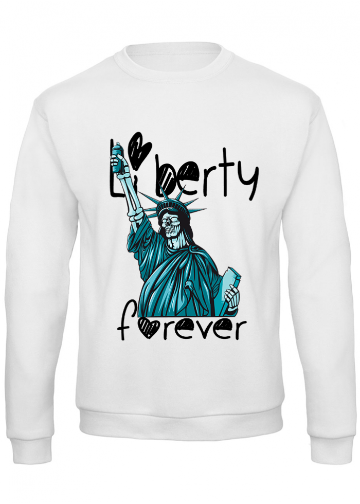 "Felpa donna ""liberty forever"" bianca"