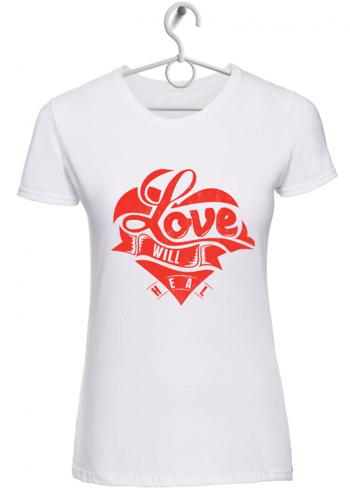 "T-shirt donna ""I love will Heal"" bianca"