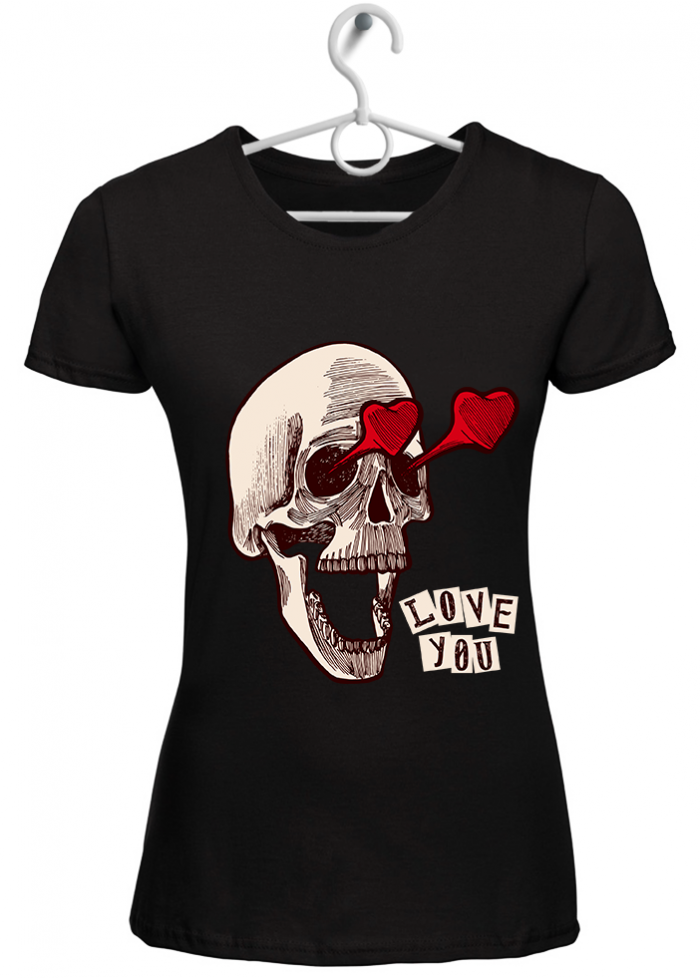 "T-shirt donna ""love you"" nera"