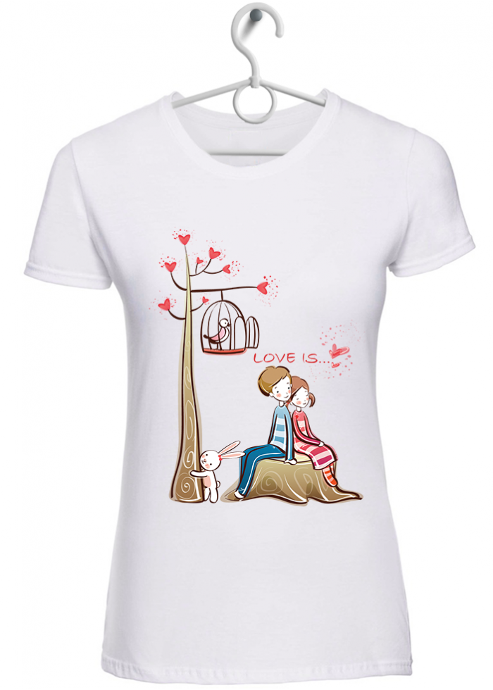 "T-shirt donna ""love is..stare insieme "" bianca"