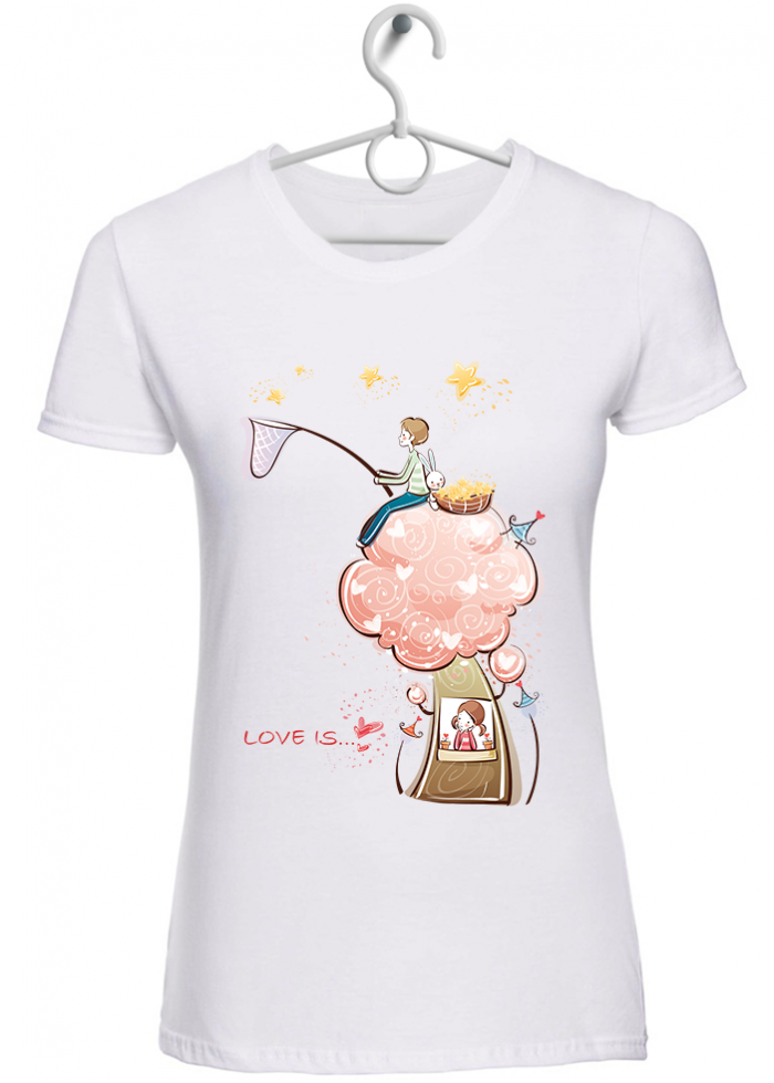 "T-shirt donna ""love is sognare insieme"" bianca"
