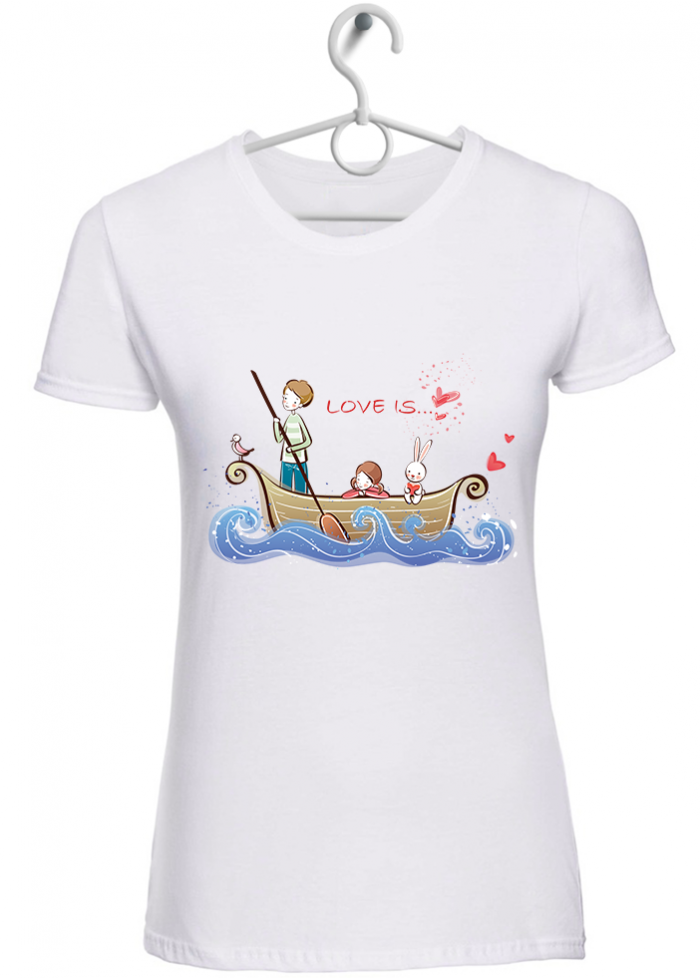 "T-shirt donna ""love is..viaggiare insieme"" bianca"