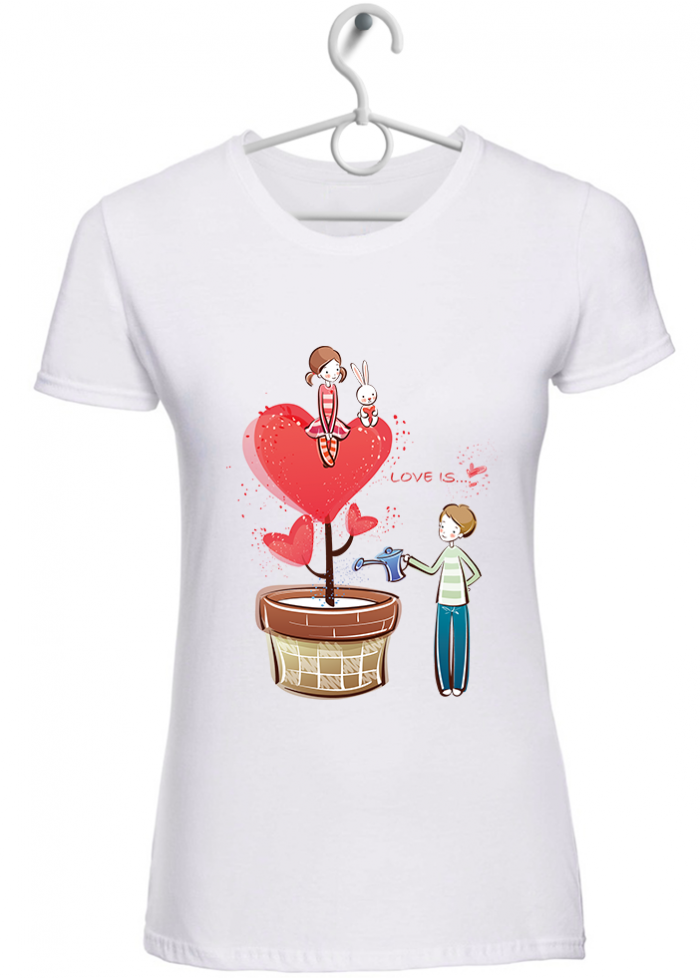 "T-shirt donna ""love is..far crescere amore"" bianca"