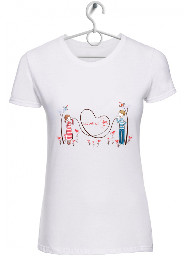 "T-shirt donna ""love is..parlarsi a distanza "" bianca"