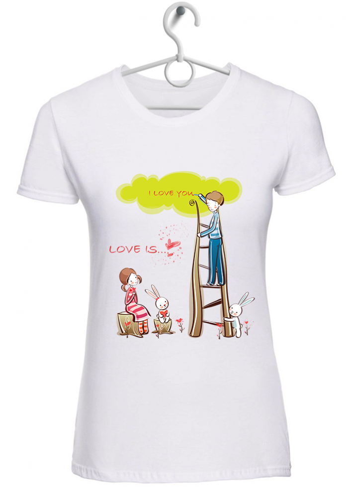 "T-shirt donna ""love is..dedicare"" bianca"