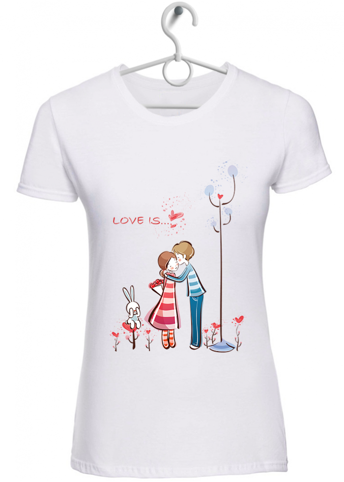 "T-shirt donna ""love is..baciarsi"" bianca"