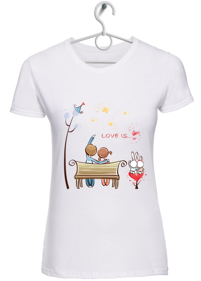 """T-shirt donna """"love is..guardare le stelle"""" bianca"""