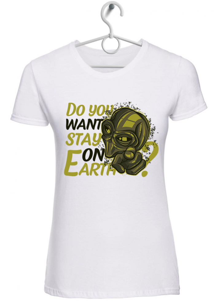 """T-shirt donna """"stay on earth"""" bianca"""