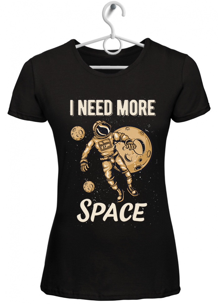"""T-shirt donna """"I need more space"""" nero"""