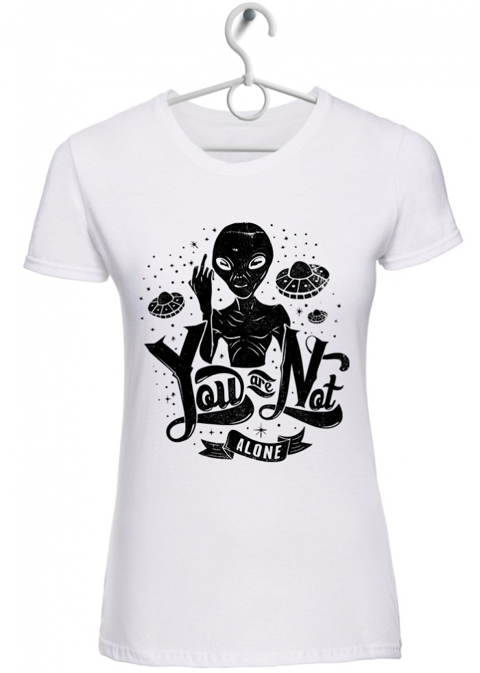"""T-shirt donna """"you are not alone"""" bianca"""