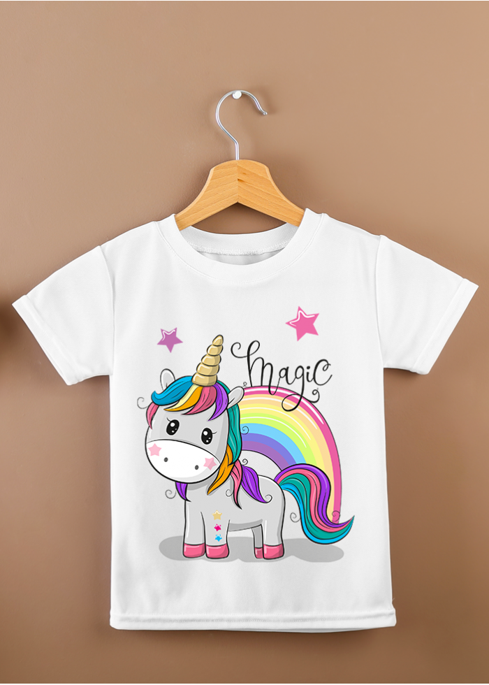 "T-shirt bimbi ""magic unicorno"" bianca"