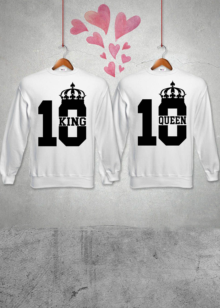 "Coppia felpe partner ""10 king queen"""