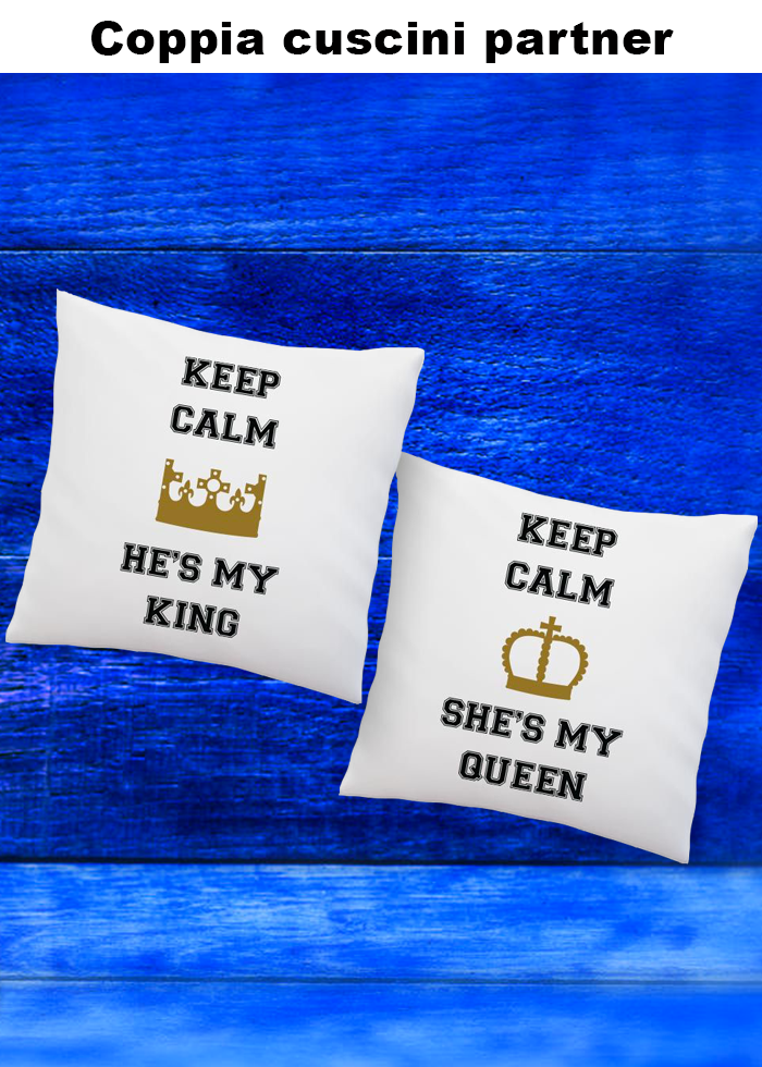 "Coppia cuscini partner ""keep calm"""