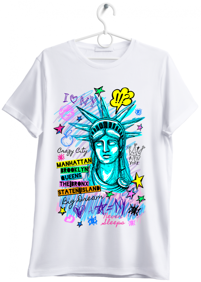 "T-shirt uomo ""i love New York"" bianco"