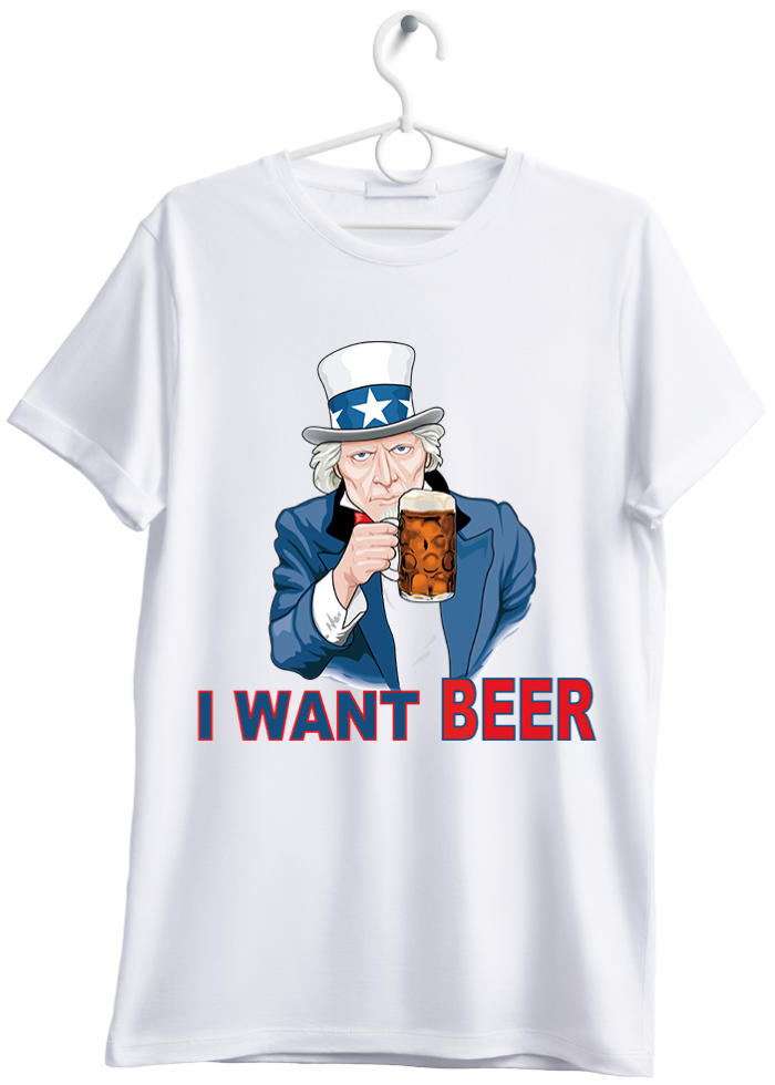 "T-shirt uomo ""i want beer"" bianco"
