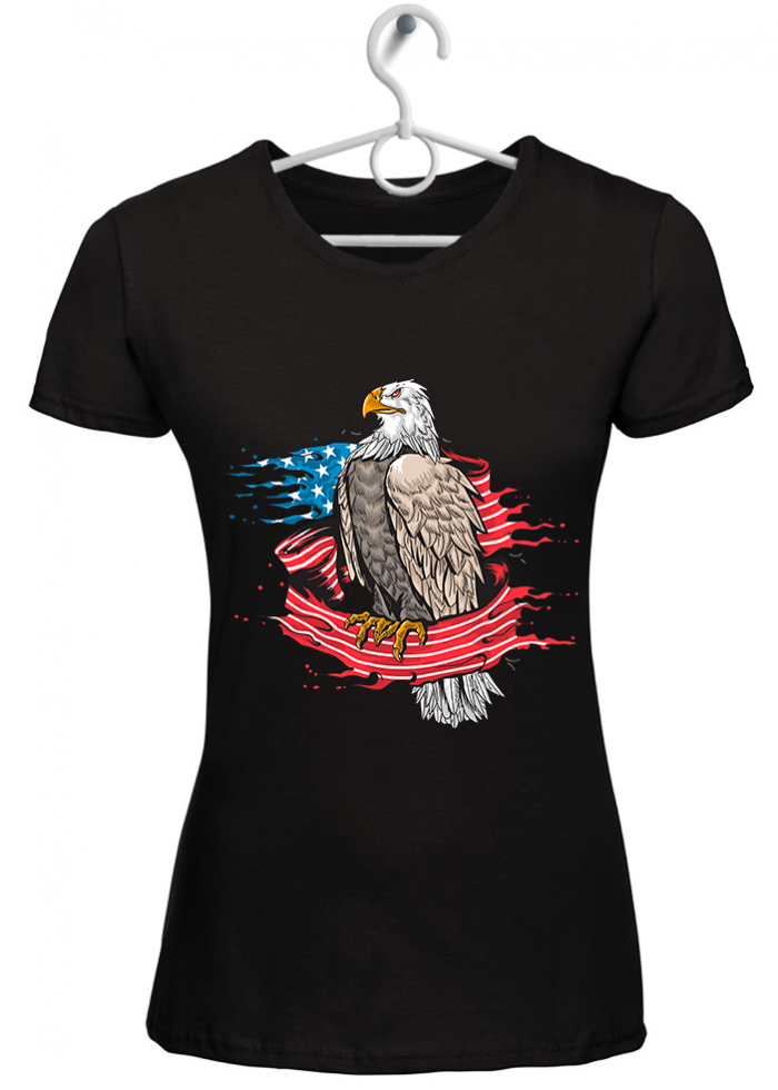 "T-shirt donna ""eagle american flag"" nera"